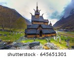 the stave church of borgund in... | Shutterstock . vector #645651301