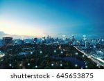 network connections between... | Shutterstock . vector #645653875