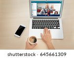 woman video conferencing with... | Shutterstock . vector #645661309