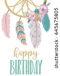 happy birthday card template... | Shutterstock .eps vector #645675805