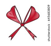 red bow ribbon decoration... | Shutterstock .eps vector #645683809
