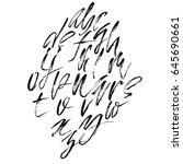 hand drawn dry brush font.... | Shutterstock .eps vector #645690661