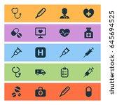 antibiotic icons set.... | Shutterstock .eps vector #645694525