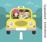 carpool. car sharing. taxi... | Shutterstock .eps vector #645694951