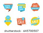 six colorful sale letterings set | Shutterstock .eps vector #645700507