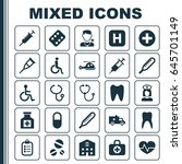 medicine icons set. collection... | Shutterstock .eps vector #645701149