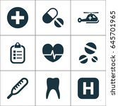 medicine icons set. collection... | Shutterstock .eps vector #645701965