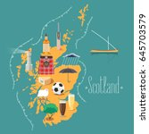 map of scotland vector... | Shutterstock .eps vector #645703579