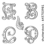 vector set of uppercase black... | Shutterstock .eps vector #645703981