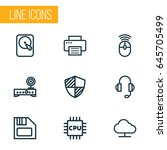 computer hardware outline icons ... | Shutterstock .eps vector #645705499