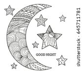 zentangle moon and star with... | Shutterstock .eps vector #645711781