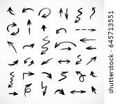 hand drawn arrows  vector set | Shutterstock .eps vector #645713551