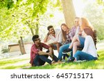 group of young people having... | Shutterstock . vector #645715171