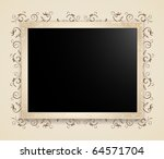 photo fame template on vintage... | Shutterstock .eps vector #64571704