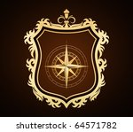 golden shield with compass rose | Shutterstock .eps vector #64571782