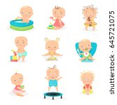 cute little babies and their... | Shutterstock .eps vector #645721075