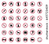 prohibited item icon set | Shutterstock .eps vector #645723409