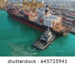 aerial view of cargo ship ... | Shutterstock . vector #645725941