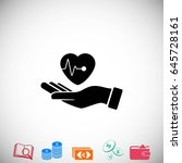 hands of the heart icon  flat... | Shutterstock .eps vector #645728161