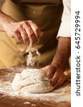 kneading and making bread dough | Shutterstock . vector #645729994