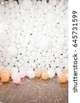 many white balloons lie on the... | Shutterstock . vector #645731599