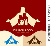 church logo. cristian symbols.... | Shutterstock .eps vector #645734434