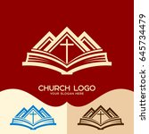 church logo. cristian symbols.... | Shutterstock .eps vector #645734479