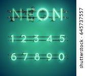 green neon realistic font set... | Shutterstock .eps vector #645737557