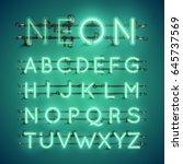 green neon realistic font set... | Shutterstock .eps vector #645737569