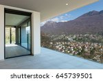 large balcony  view of mountain | Shutterstock . vector #645739501
