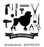 pet grooming monochrome icons... | Shutterstock .eps vector #645743194
