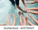 the warm up by kicking your...   Shutterstock . vector #645750427