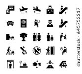 airport icons set in flat style.... | Shutterstock .eps vector #645752317