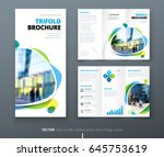 Business tri fold brochure design. Blue orange corporate business template for tri fold flyer. Layout with modern shaped photo and abstract background. Creative concept folded flyer or brochure. | Shutterstock vector #645753619