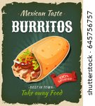 retro fast food mexican... | Shutterstock .eps vector #645756757