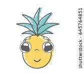 kawaii cute shy pineapple... | Shutterstock .eps vector #645764851