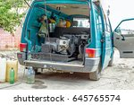 gasoline powered portable... | Shutterstock . vector #645765574