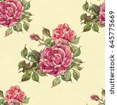 english roses seamless.... | Shutterstock . vector #645775669