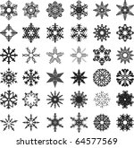 set of vector snowflakes on a white background - stock vector