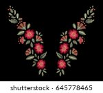 neck embroidery. vector floral... | Shutterstock .eps vector #645778465