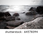 Storm. Waves and sea foam. - stock photo