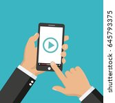 media player app on smartphone... | Shutterstock . vector #645793375