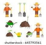 set of farmer and gardener with ... | Shutterstock .eps vector #645793561