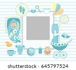 baby boy shower card. arrival... | Shutterstock .eps vector #645797524