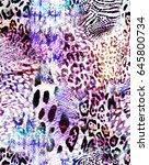 purple animal mix   seamless... | Shutterstock . vector #645800734