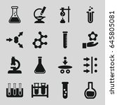 scientific icons set. set of 16 ... | Shutterstock .eps vector #645805081