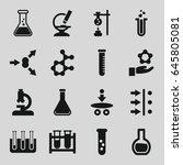 scientific icons set. set of 16 ... | Shutterstock .eps vector #645805081