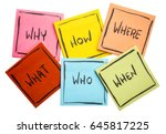 why  how   what  when  who  ... | Shutterstock . vector #645817225