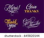 four handwritten thanks... | Shutterstock .eps vector #645820144