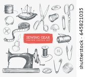 hand drawn sewing gear and... | Shutterstock .eps vector #645821035
